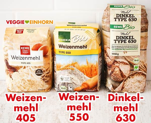 Weizenmehl Type 405, Weizenmehl Type 550 und Dinkelmehl Type 630