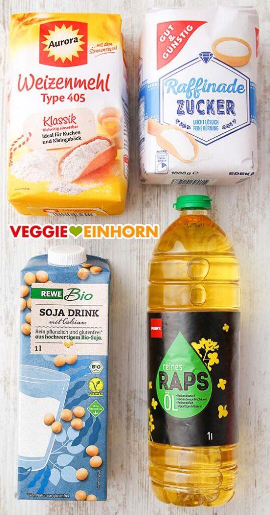Mehl, Zucker, Sojamilch, neutrales Öl