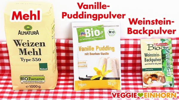 Mehl, veganes Vanille-Puddingpulver, Weinstein Backpulver