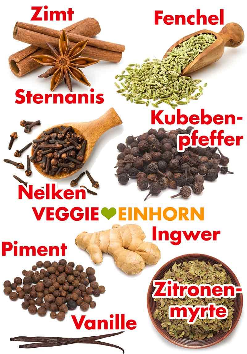 Zimt, Sternanis, Fenchel, Nelken, Kubebenpfeffer, Ingwer, Piment, Zitronenmyrte, Vanille
