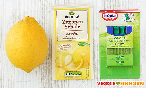 Zitrone, geriebene Zitronenschale, Backaroma