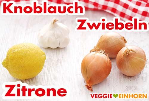 Zitrone, Knoblauch und Zwiebeln