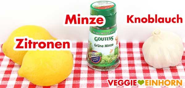 Zitronen, Minze und Knoblauch für Rote Linsensuppe