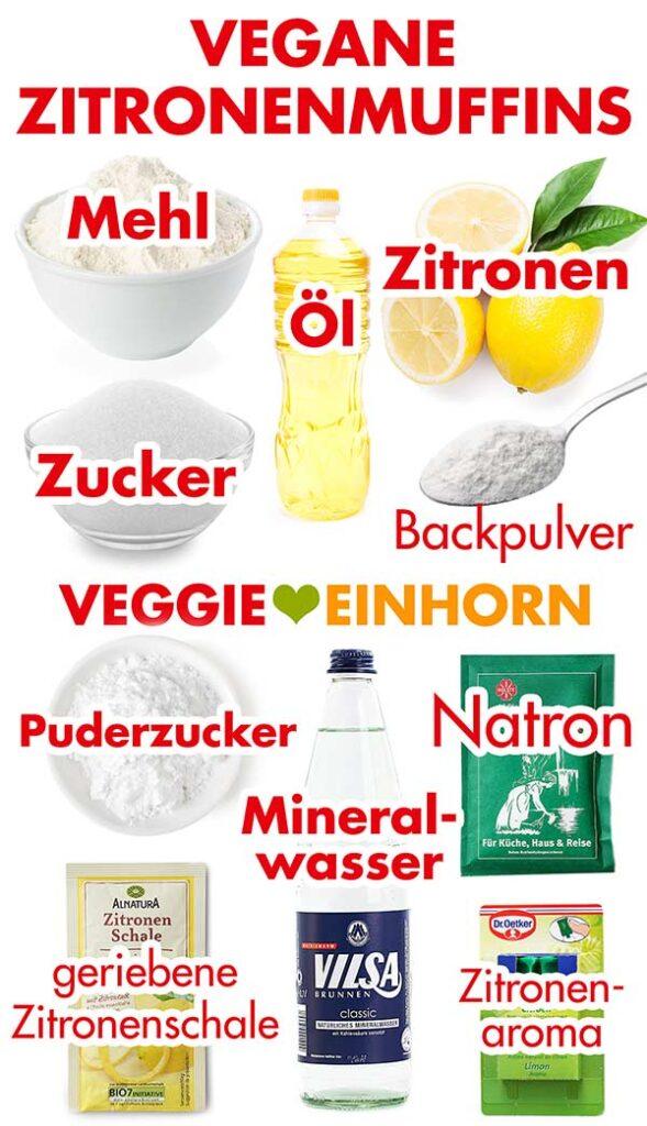 Zutaten für vegane Zitronenmuffins