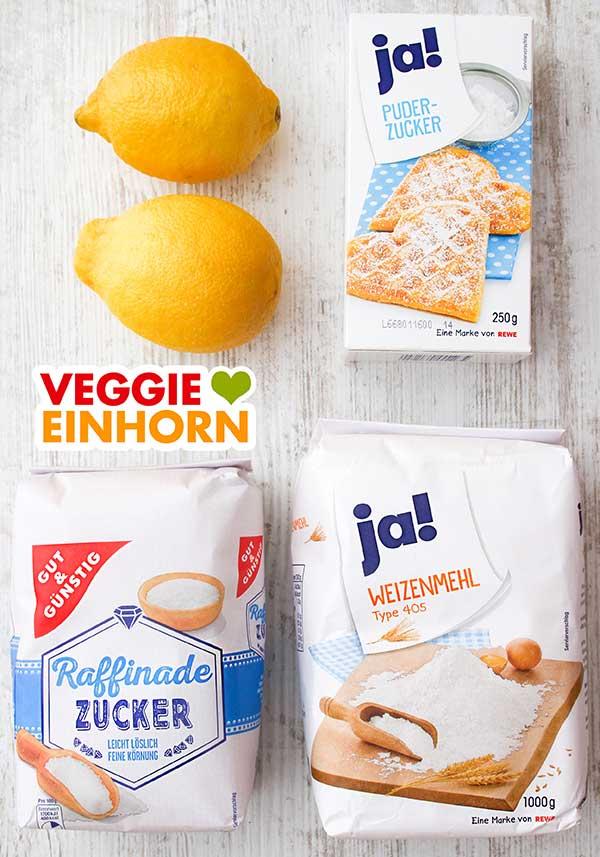 Zitronen, Puderzucker, Zucker und Weizenmehl Type 405