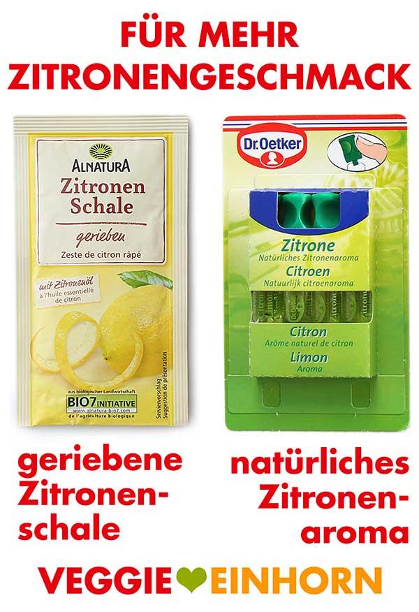 Abgeriebene Zitronenschale von Alnatura und Zitronenaroma von Dr. Oetker