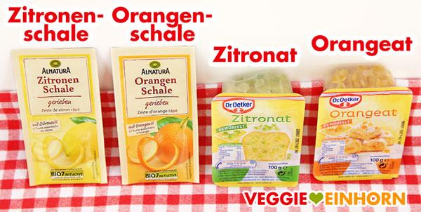 Zitronenschale Orangenschale Zitronat Orangeat