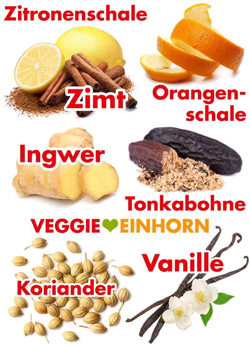 Zimt, Orangenschale, Ingwer, Koriander, Zitronenschale, Tonkabohne, Vanille
