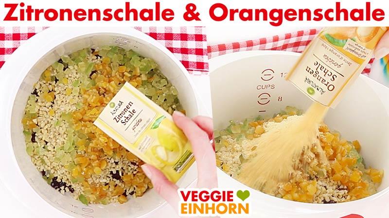 Zitronenschale und Orangenschale für veganen Stollen