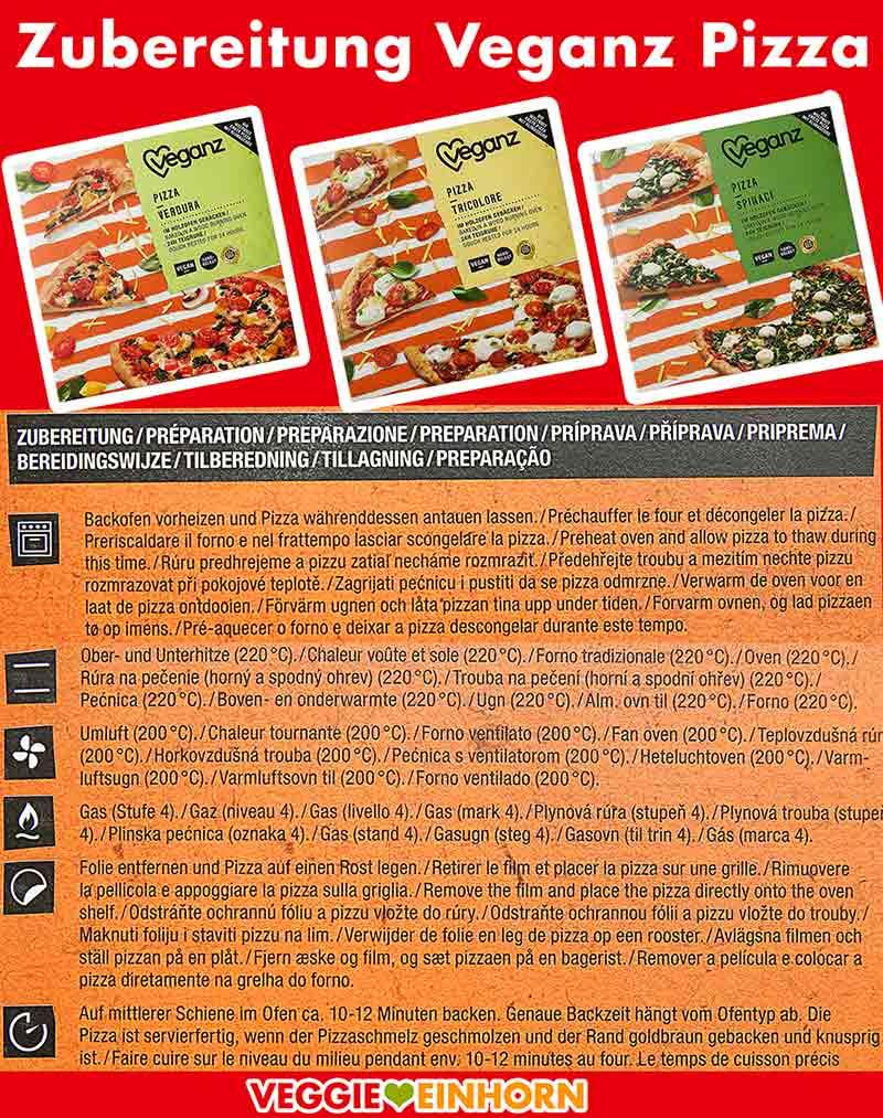 Anleitung zur Zubereitung der Veganz Pizza