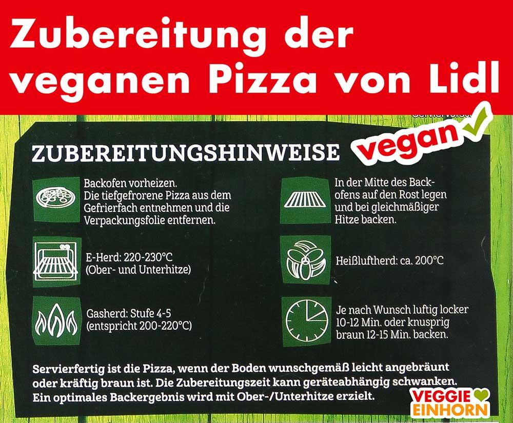 Zubereitung der veganen Pizza von Lidl