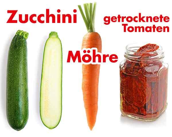 Zucchini, Möhre und getrocknete Tomaten in Öl