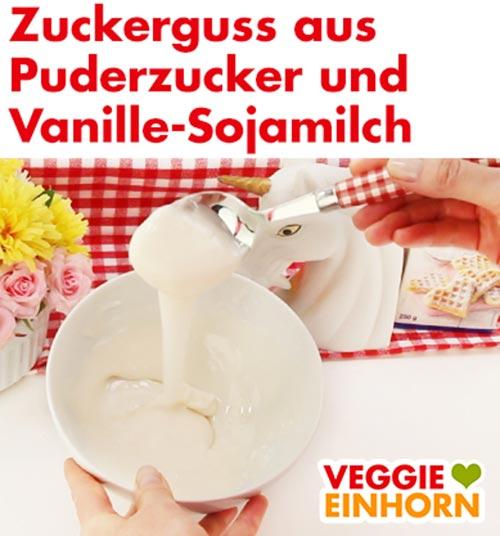 Zuckerguss aus Puderzucker und Vanille-Sojamilch