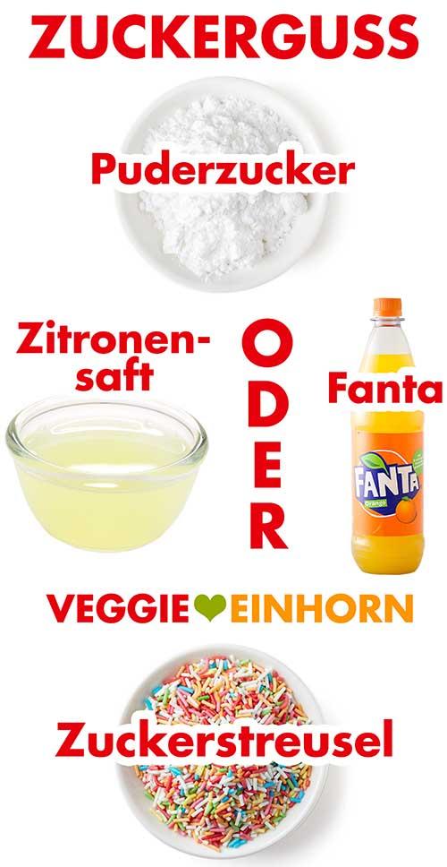 Zutaten für Zuckerguss mit Fanta oder Zitronensaft