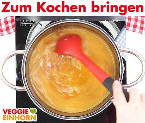 Suppe zum Kochen bringen
