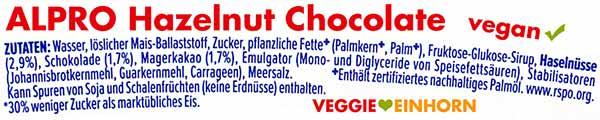 Zutaten Alpro Eis Haselnuss Schokolade