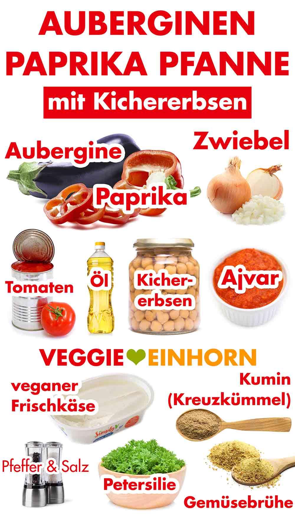 Zutaten für die Auberginen Paprika Pfanne mit Kichererbsen