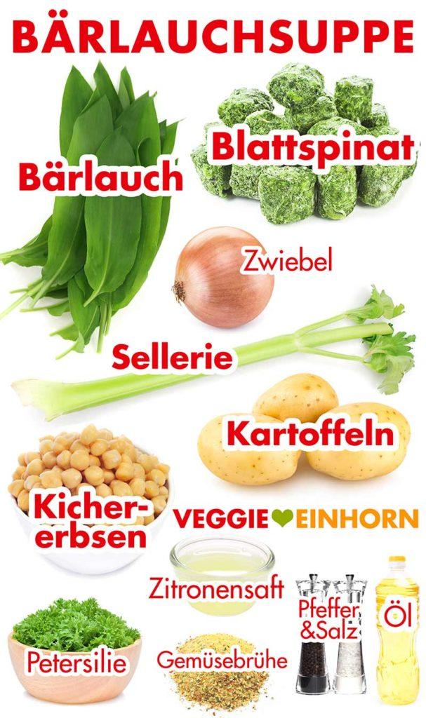 Zutaten für Bärlauchsuppe mit Kartoffeln und Kichererbsen