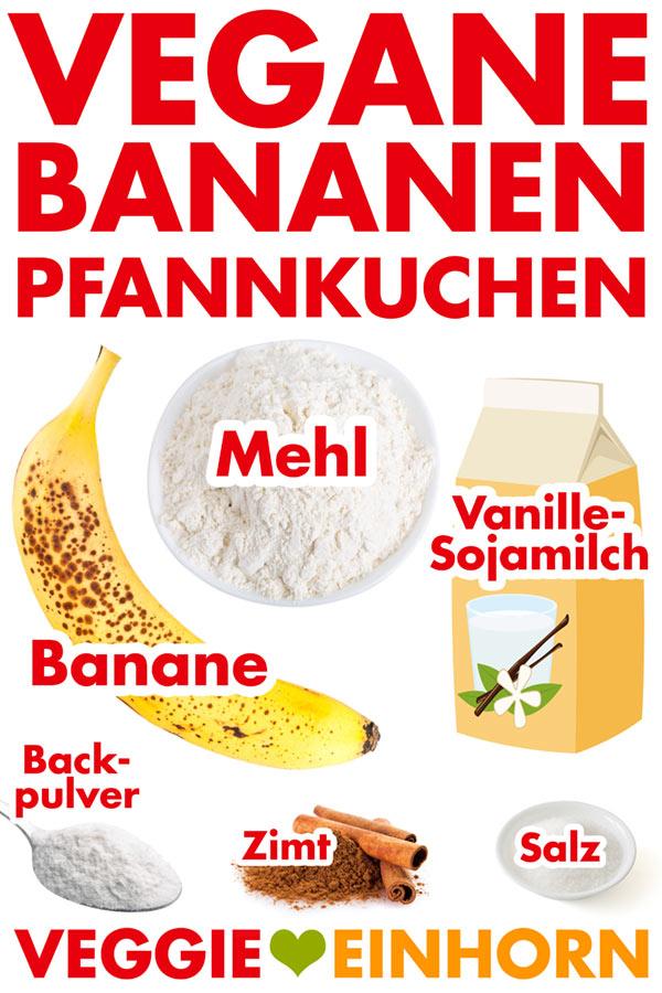 Zutaten für vegane Bananen Pfannkuchen: Reife Banane, Dinkelmehl, Sojadrink Vanille, Backpulver, Zimt, Salz