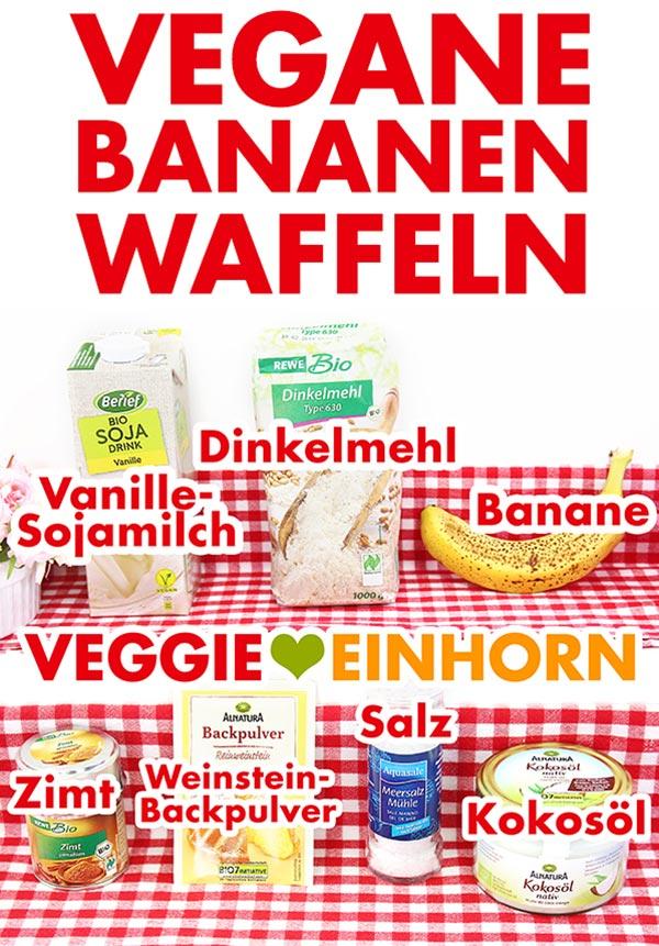 Vegane Waffeln Banane Zutaten: Vanillesojamilch, Dinkelmehl Type 630, reife Banane, Weinsteinbackpulver
