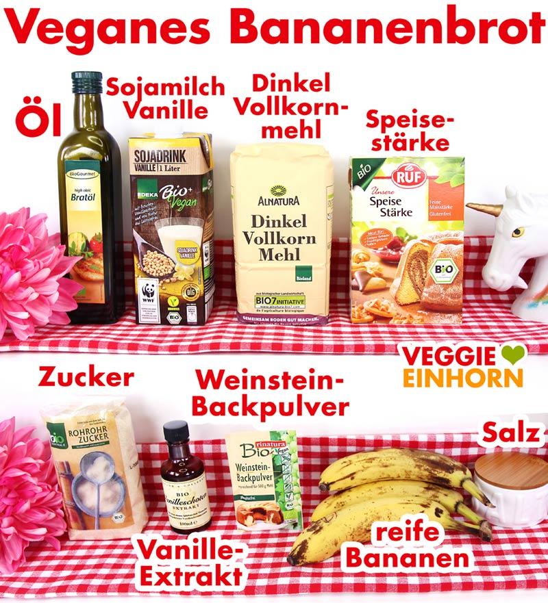 Öl, Vanillesojamilch, Dinkel Vollkornmehl, Speisestärke, Zucker, Vanille, Backpulver, Bananen, Salz