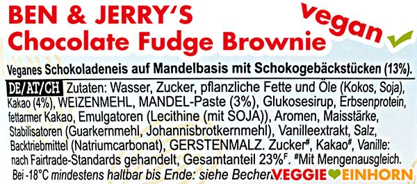 Zutaten Ben and Jerry's Chocolate Fudge Brownie