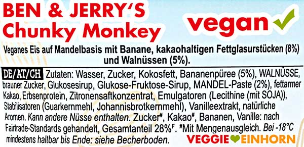 Zutaten Ben & Jerry's Chunky Monkey vegan