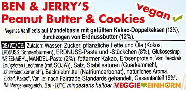 Zutaten Ben & Jerry's Peanut Butter & Cookies vegan