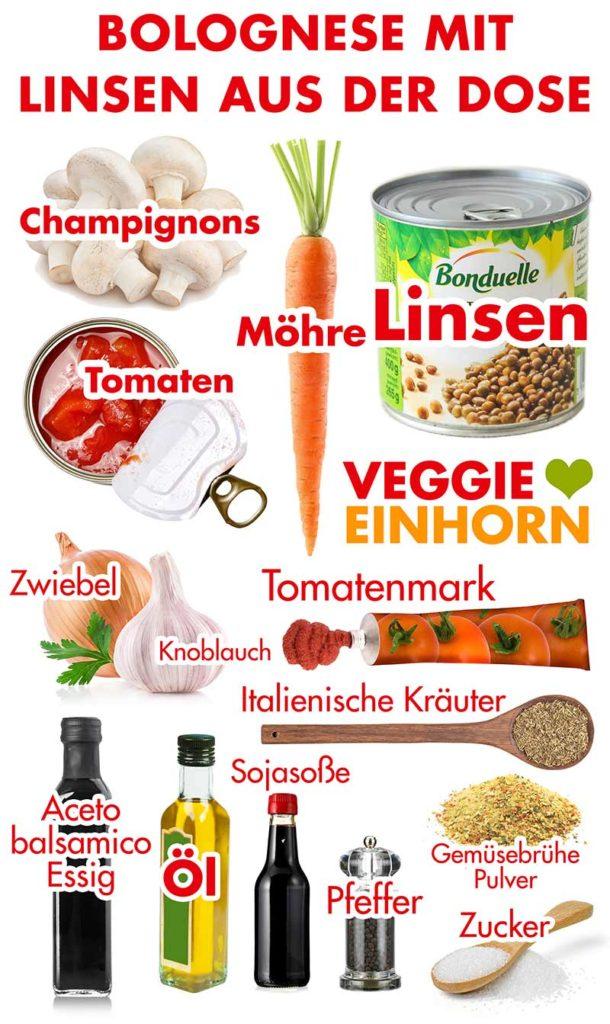 Zutaten für vegane Bolognese mit Dosenlinsen