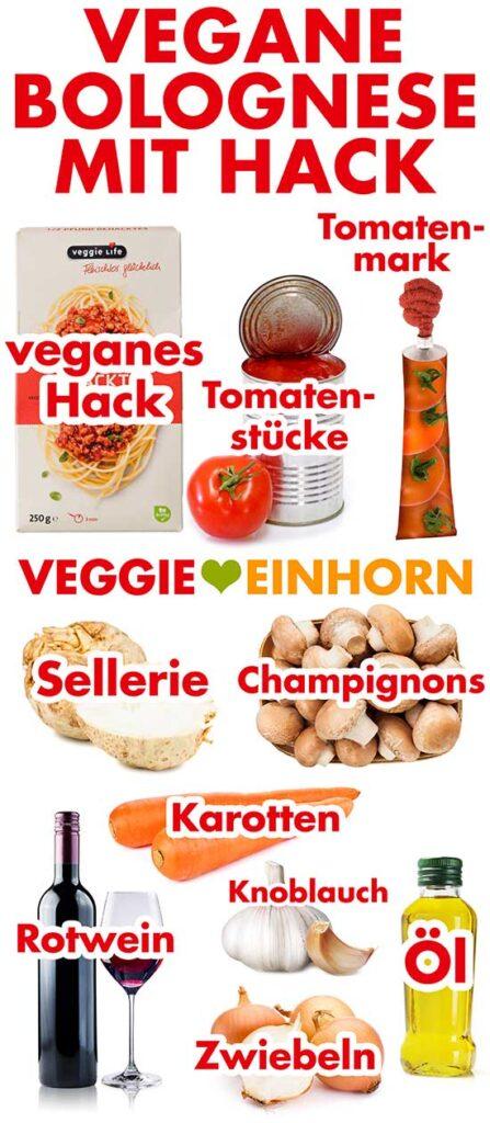 Zutaten für die vegetarische Bolognese mit Hack
