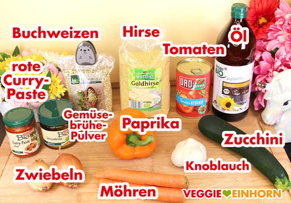 Buchweizen, Hirse, Zucchini, Möhren, rote Currypaste