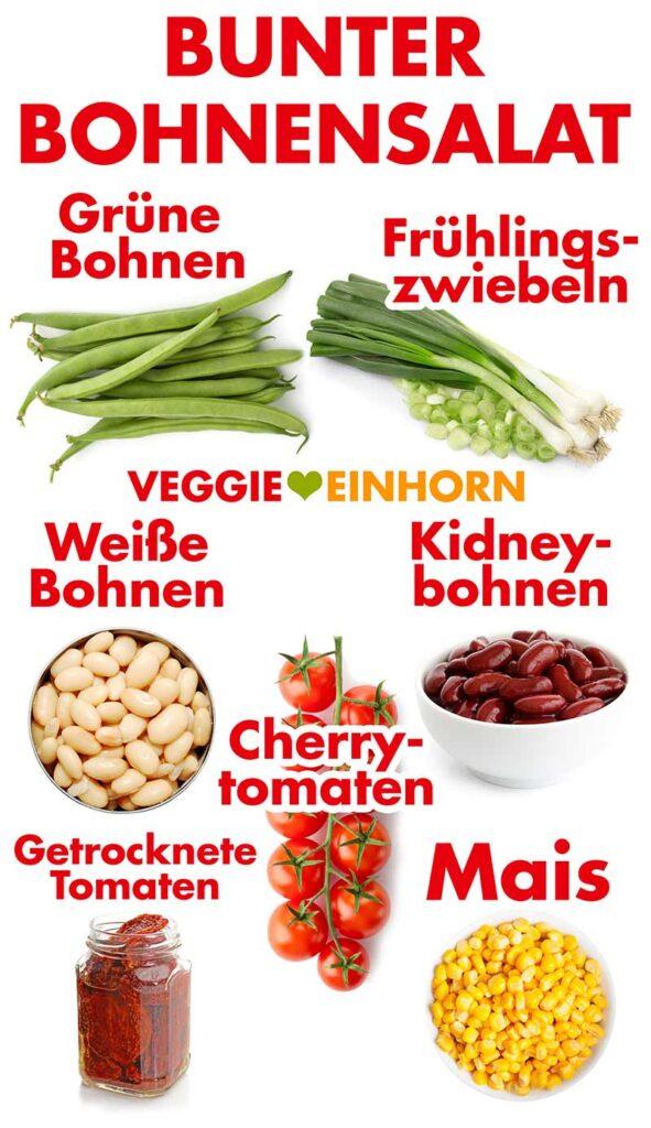 Zutaten für den bunten Bohnensalat