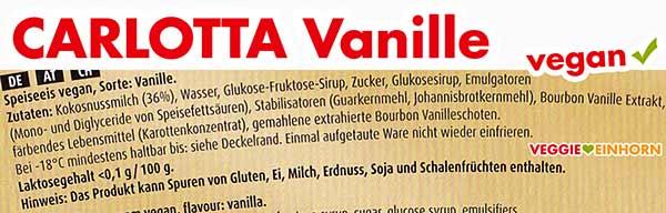 Zutaten Carlotta Vanille Eis