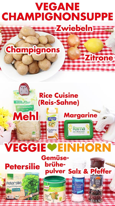 Zutaten für vegane Champignonsuppe