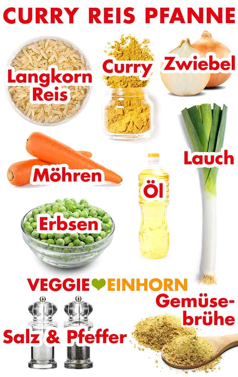 Langkornreis, Currypulver, Zwiebel, Möhren, Erbsen, Öl, Lauch, Salz, Pfeffer, Gemüsebrühe Pulver