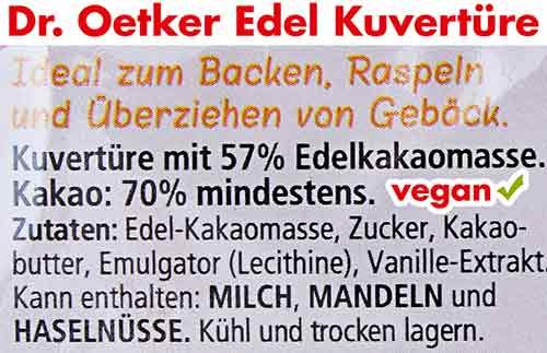 Vegane Zutaten von Dr. Oetker Edel Kuvertüre