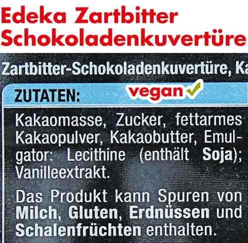 Vegane Zutaten von Edeka Zartbitterkuvertüre
