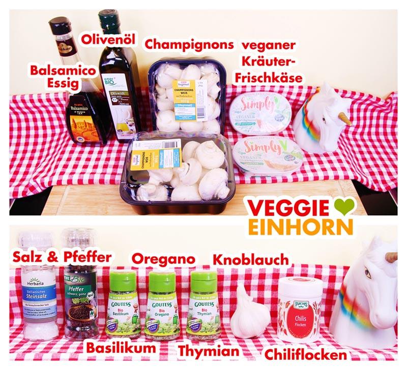 Zutaten für VEGANE GEFÜLLTE CHAMPIGNONS | Einfaches veganes Rezept | Schnelle leckere Pilze mit veganer Frischkäse Füllung