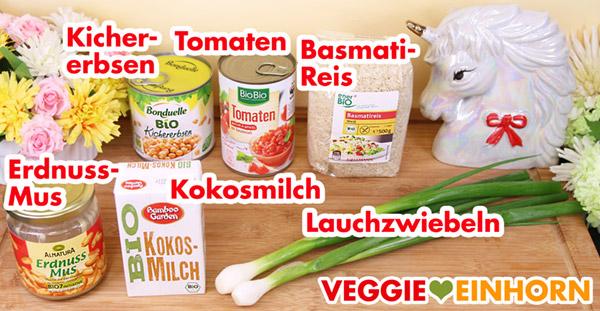 Zutaten für das vegane Curry mit Erdnussmus, Kichererbsen und Reis