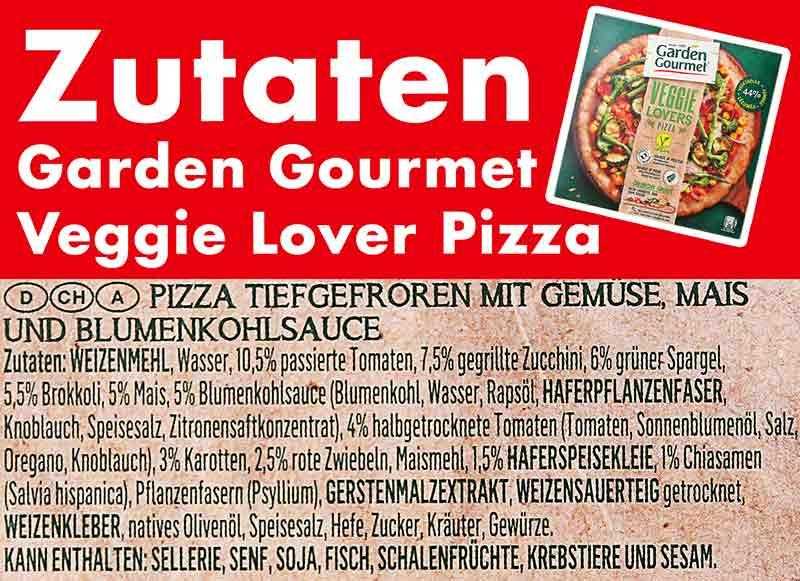 Zutaten der Garden Gourmet Veggie Lover Pizza