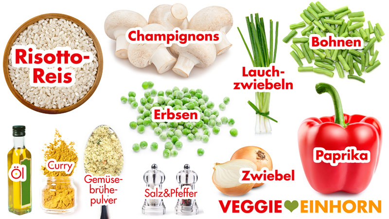 Zutaten Risotto Reis, Champignons, Paprika, Erbsen, grüne Bohnen