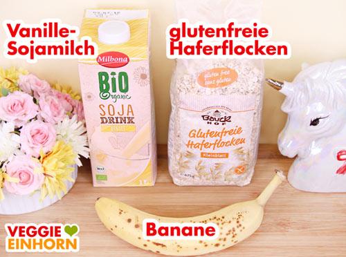 Vanille Sojamilch Haferflocken reife Banane