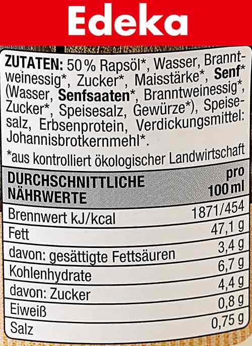 Zutaten und Nährwerte der veganen Mayo von Edeka