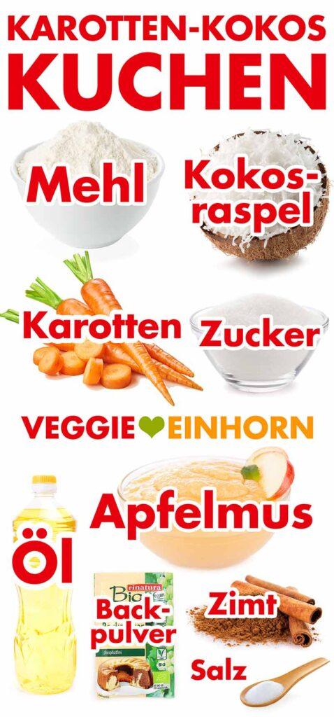 Zutaten für den Karotten Kokos Kuchen