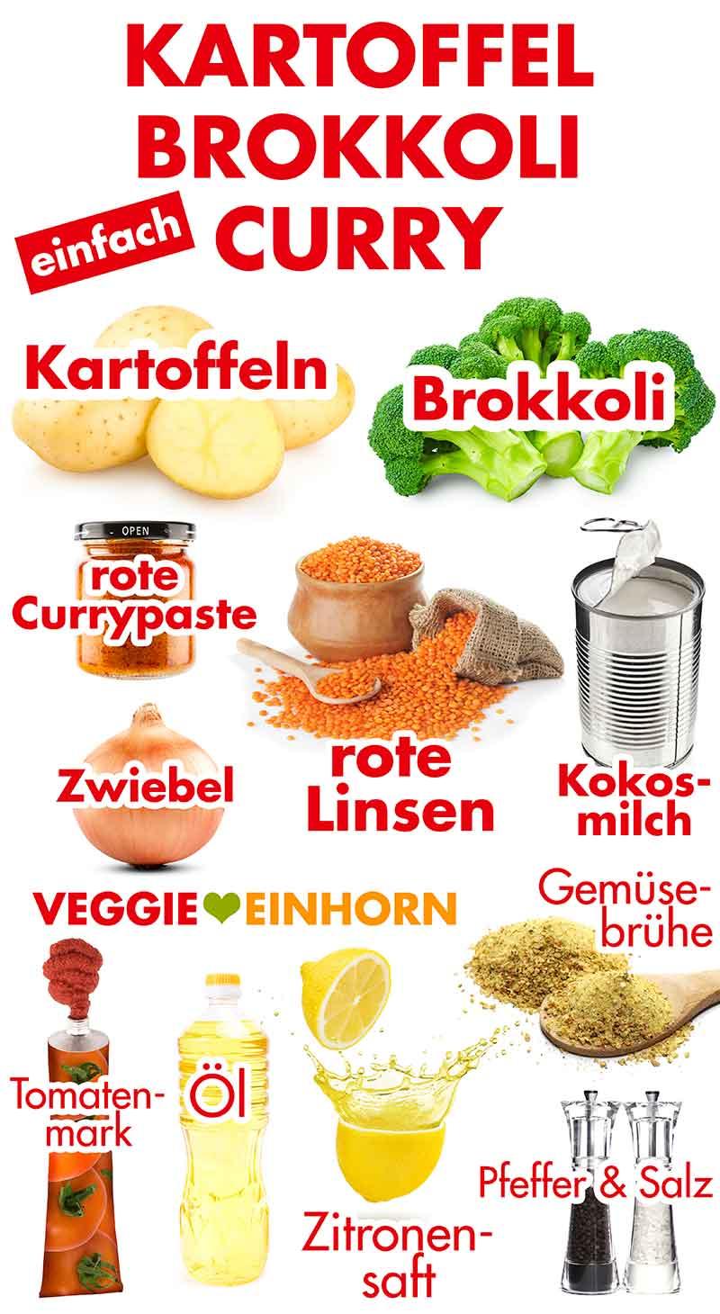Zutaten für das Kartoffel Brokkoli Curry