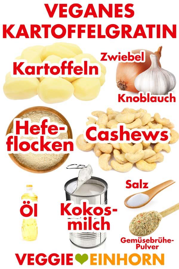Zutaten für veganes Kartoffelgratin mit Cashews, Kokosmilch und Hefeflocken