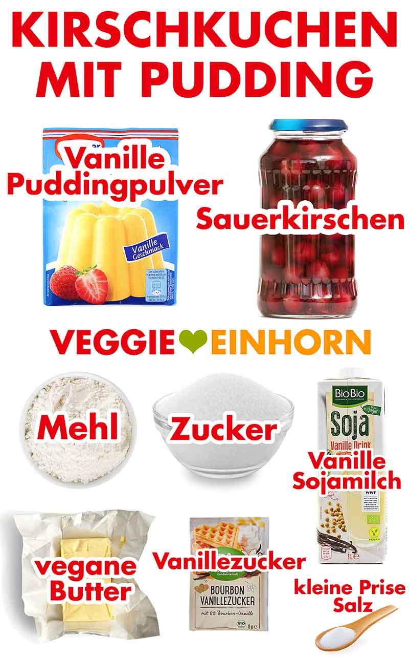 Zutaten für Kirschkuchen mit Pudding