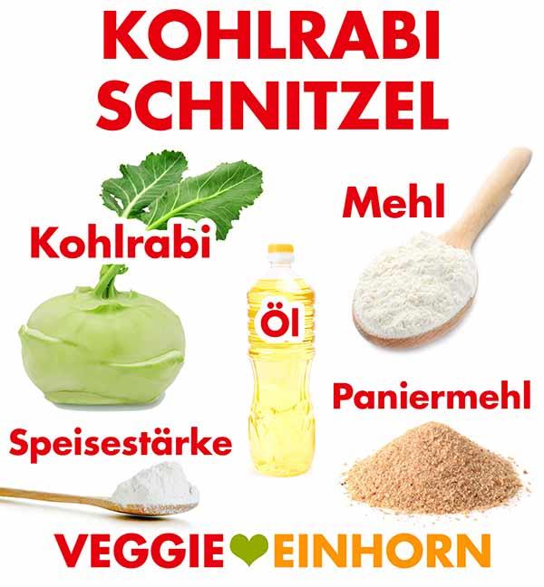 Zutaten für veganes Kohlrabischnitzel