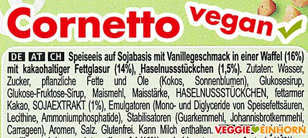 Zutaten Langnese Cornetto (vegan & glutenfrei)