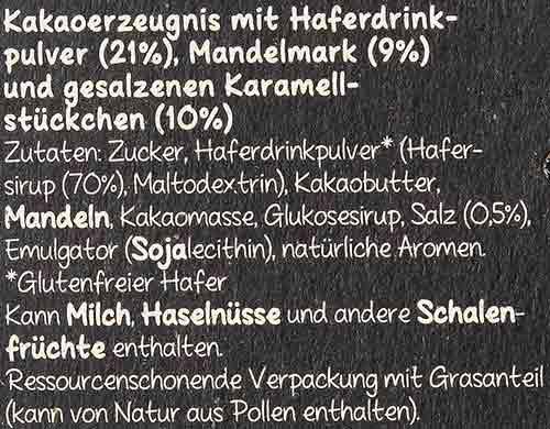Zutaten von Lindt Hello Vegane Schokolade Salted Caramel